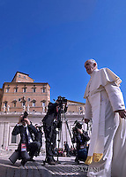 Pope Francis  during his weekly general audience in St. Peter square at the Vatican, Wednesday.April 6, 2016.