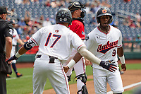 Auburn Tigers second baseman Ryan Bliss (9) scores a run during Game 7 of the NCAA College World Series against the Louisville Cardinals on June 18, 2019 at TD Ameritrade Park in Omaha, Nebraska. Louisville defeated Auburn 5-3. (Andrew Woolley/Four Seam Images)