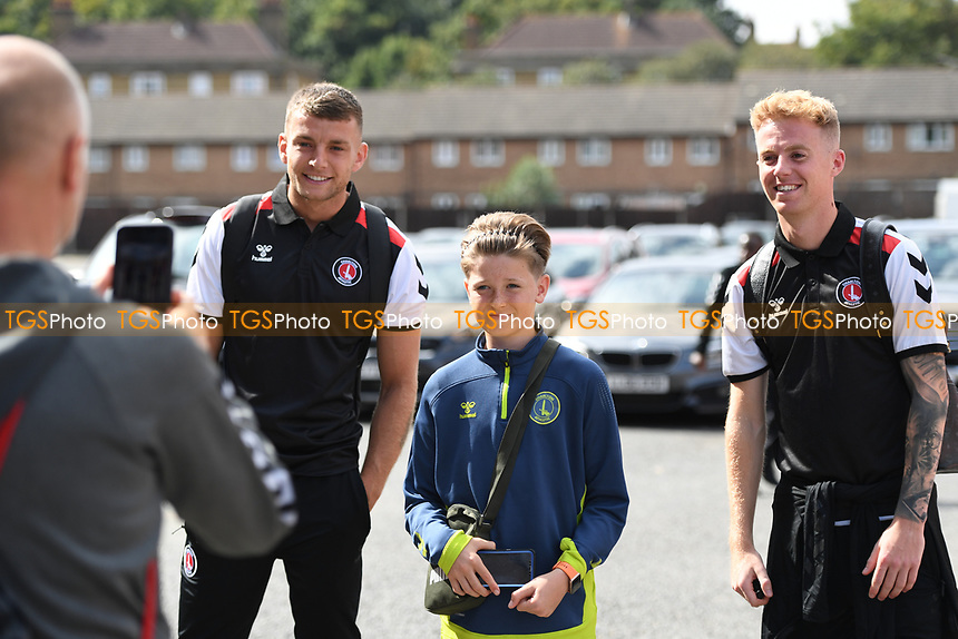 Fans and Players  take pictures a head of Charlton Athletic vs Cheltenham Town, Sky Bet EFL League 1 Football at The Valley on 11th September 2021