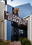 The Welcome to Bearadise statue graced the front of the Black Bear Diner. The diner burned to the ground but the statue survived and was moved to the front of the Paradise Police Station.