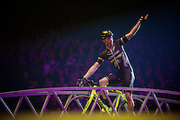 Sven Nys (BEL/Crelan-AADrinks) asking for some crowd participation<br /> <br /> 'Merci Sven' (twice!) sold out arena event: <br /> tribute-show celebrating Sven Nys' career/retirement together with 18.000 people in the Sportpaleis Arena