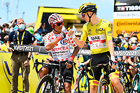 10th July 2021; Carcassonne, France;  QUINTANA Nairo (COL) of TEAM ARKEA - SAMSIC and POGACAR Tadej (SLO) of UAE TEAM EMIRATES during stage 14 of the 108th edition of the 2021 Tour de France cycling race, a stage of 183,7 kms between Carcassonne and Quillan.