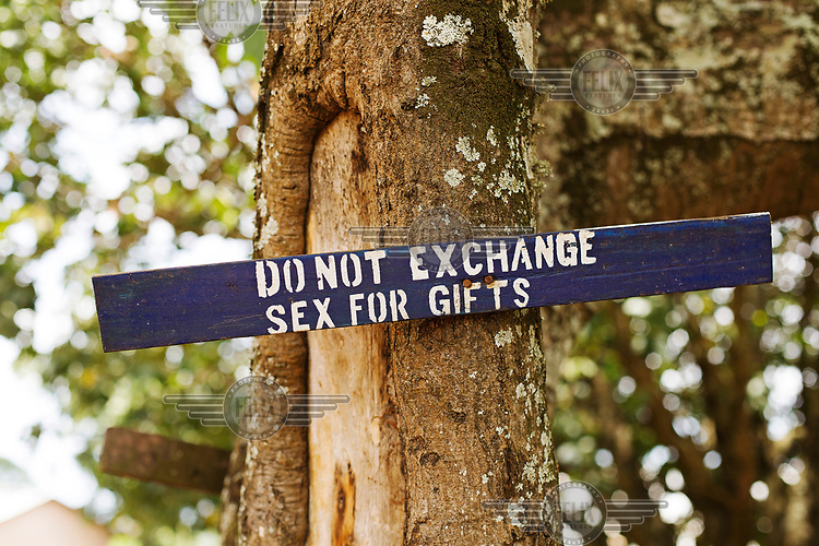 A sign near a school warns: 'do not exchange sex for gifts'.