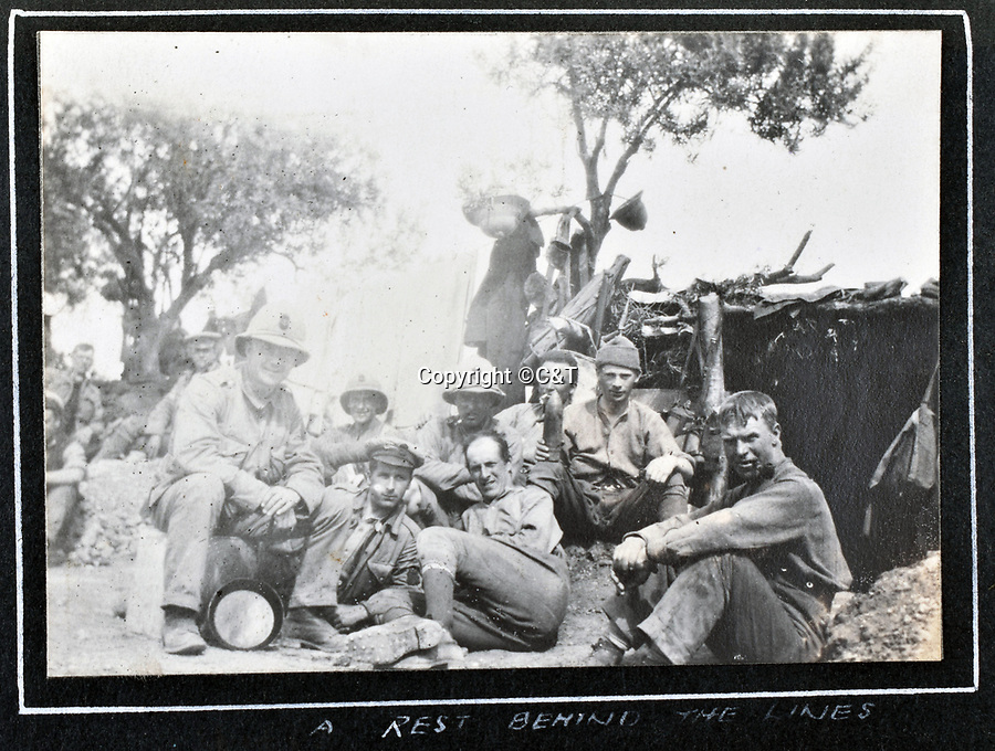 BNPS.co.uk (01202 558833)<br /> Pic: C&T/BNPS<br /> <br /> 'Resting behind the lines'<br /> <br /> Never before seen photos of the disastrous Gallipoli campaign have come to light over a century later.<br /> <br /> The fascinating snaps were taken by Sub Lieutenant Gilbert Speight who served in the Royal Naval Air Service in World War One.<br /> <br /> They feature in his photo album which covers his eventful war, including a later stint in Egypt.<br /> <br /> There are dramatic photos of the Allies landing at X Beach, as well as sobering images of a mass funeral following the death of 17 Brits. Another harrowing image shows bodies lined up in a mass grave.<br /> <br /> The album, which also shows troops during rare moments of relaxation away from the heat of battle, has emerged for sale with C & T Auctions, of Ashford, Kent. It is expected to fetch £1,500.