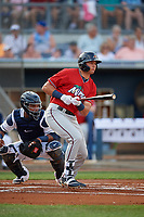 Fort Myers Miracle Trevor Larnach (9) at bat during a Florida State League game against the Charlotte Stone Crabs on April 6, 2019 at Charlotte Sports Park in Port Charlotte, Florida.  Catching is Ronaldo Hernandez.  Fort Myers defeated Charlotte 7-4.  (Mike Janes/Four Seam Images)