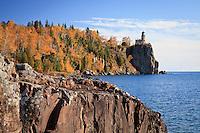 """Ablaze at Split Rock Lighthouse""<br /> Lake Superior's rocky shoreline at Split Rock Lighthouse is adorned with autumn's vibrant palette."