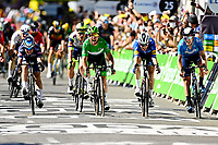 July 9th 2021. Carcassonne, Languedoc, France;  CAVENDISH Mark (GBR) of DECEUNINCK - QUICK-STEP wins the sprint before MORKOV Michael (DEN) of DECEUNINCK - QUICK-STEP and PHILIPSEN Jasper (BEL) of ALPECIN-FENIX  during stage 13 of the 108th edition of the 2021 Tour de France cycling race, a stage of 219,9 kms between Nimes and Carcassonne.