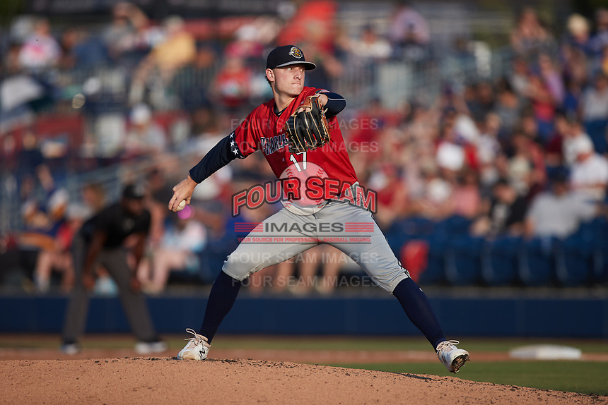 Charleston RiverDogs pitcher Seth Johnson (17) in action against the Kannapolis Cannon Ballers at Atrium Health Ballpark on July 4, 2021 in Kannapolis, North Carolina. (Brian Westerholt/Four Seam Images)