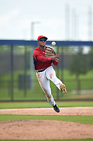 GCL Nationals third baseman Jaylen Hubbard (13) throws to first base during a Gulf Coast League game against the GCL Astros on August 9, 2019 at FITTEAM Ballpark of the Palm Beaches training complex in Palm Beach, Florida.  GCL Nationals defeated the GCL Astros 8-2.  (Mike Janes/Four Seam Images)