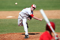 Illinois State Redbirds pitcher Justin Hauer #35 during a game vs. the Ohio State Buckeyes at Chain of Lakes Park in Winter Haven, Florida;  March 11, 2011.  Illinois defeated Ohio State 12-1.  Photo By Mike Janes/Four Seam Images