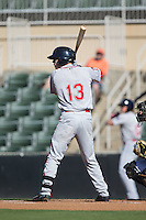 Austin Rei (13) of the Greenville Drive at bat against the Kannapolis Intimidators at Intimidators Stadium on June 7, 2016 in Kannapolis, North Carolina.  The Drive defeated the Intimidators 4-1 in game one of a double header.  (Brian Westerholt/Four Seam Images)