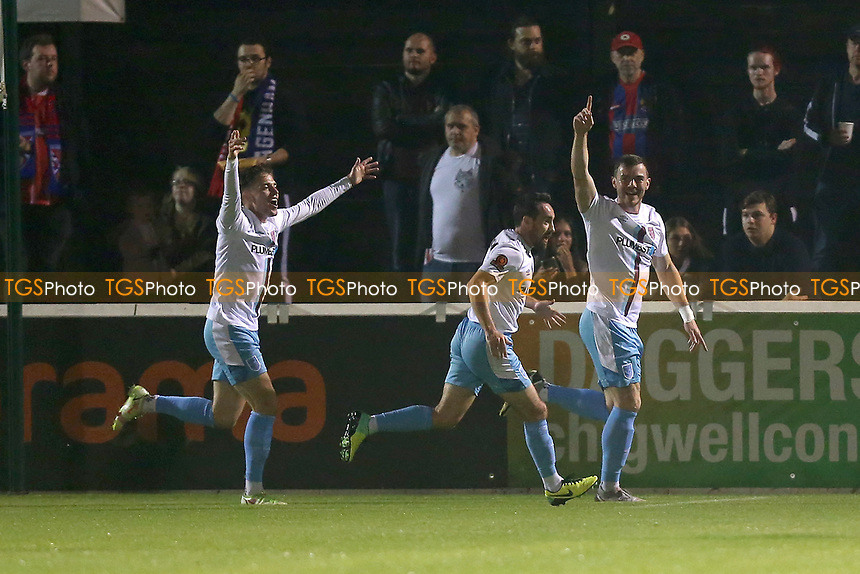 Josh Leslie-Smith of Weymouth scores the first goal for his team and celebrates during Dagenham & Redbridge vs Weymouth, Vanarama National League Football at the Chigwell Construction Stadium on 14th September 2021