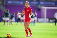ORLANDO, FL - FEBRUARY 24: Julia Grosso #7 of the CANWNT warming up before a game between Brazil and Canada at Exploria Stadium on February 24, 2021 in Orlando, Florida.