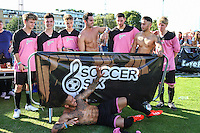 London, UK on Sunday 31st August, 2014. Ex on the Beach team, including Ashley Cain (front) during the Soccer Six charity celebrity football tournament at Mile End Stadium, London.