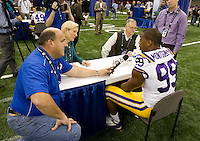 Sam Montgomery of LSU talks with the reporters during BCS Media Day at Mercedes-Benz Superdome in New Orleans, Louisiana on January 6th, 2012.