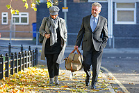 Pictured: Robert Howells (R) arrives at Merthyr Crown Court, south Wales, UK. Friday 02 November 2018<br /> Re: Three men who defrauded the NHS are due to be sentenced at Merthyr Crown Court, Wales, UK.<br /> Michael Cope, 42, had denied ensuring building contracts were awarded to a rotten company while working for Powys Teaching Health Board in 2015.<br /> His colleagues Mark Evill and Robert Howells previously pleaded guilty to the fraud, which cost taxpayers £1.4m to put right.<br /> Cope claimed he knew nothing about the scam but was convicted at Merthyr Tydfil Crown Court..<br /> Together, they awarded construction contracts to a company Evill set up called George Morgan Limited.<br /> The court was told the work carried out by the firm was so poor it cost £1.4m to fix.<br /> Evill spent the company's profits on holidays to Dubai, expensive watches, property, and cars, including a vehicle for Howells for helping him.<br /> To hide his involvement in the scam, Evill used the names Paul Hewson and David Evans in emails - the real names of Bono and The Edge from U2.