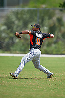 Miami Marlins Jhonny Santos (11) during practice before a minor league Spring Training intrasquad game on March 31, 2016 at Roger Dean Sports Complex in Jupiter, Florida.  (Mike Janes/Four Seam Images)