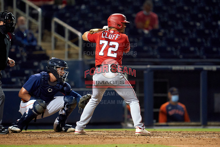 Washington Nationals Jackson Cluff (72) bats during a Major League Spring Training game against the Houston Astros on March 19, 2021 at The Ballpark of the Palm Beaches in Palm Beach, Florida.  (Mike Janes/Four Seam Images)