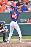 Clemson Tigers right fielder Seth Beer (28) awaits a pitch during a game against the Maine Black Bears at Doug Kingsmore Stadium on February 20, 2016 in Clemson, South Carolina. The Tigers defeated the Black Bears 9-4. (Tony Farlow/Four Seam Images)