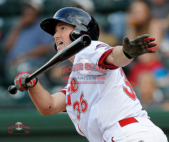 First baseman Jantzen Witte (35) of the Greenville Drive bats in a game against the Asheville Tourists on Monday, April 21, 2014, at Fluor Field at the West End in Greenville, South Carolina. Greenville won, 8-3. (Tom Priddy/Four Seam Images)