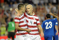 U.S players Clint Dempsey and Michael Bradley (4) celebrate Bradley's goal..USMNT defeated Guatemala 3-1 in World Cup qualifying play at LIVESTRONG Sporting Park, Kansas City, KS.