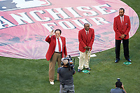 Pete Rose, Joe Morgan, and Barry Larkin during the Franchise Four introductions before the MLB All-Star Game on July 14, 2015 at Great American Ball Park in Cincinnati, Ohio.  (Mike Janes/Four Seam Images)