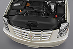 High angle engine detail of a 2009 Cadillac Escalade Hybrid.