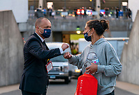 EAST HARTFORD, CT - JULY 5: Earnie Stewart shakes hands with Carli Lloyd #10 of the USWNT during a game between Mexico and USWNT at Rentschler Field on July 5, 2021 in East Hartford, Connecticut.