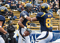 Keenan Allen of California celebrates with Anthony Miller of California after Allen scored a touchdown during the game against ASU at Memorial Stadium in Berkeley, California on October 23rd, 2010.  California defeated Arizona State, 50-17.