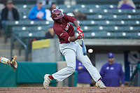 Tim Johnson (32) of the Saint Joseph's Hawks makes contact with the baseball during the game against the Western Carolina Catamounts at TicketReturn.com Field at Pelicans Ballpark on February 23, 2020 in Myrtle Beach, South Carolina. The Hawks defeated the Catamounts 9-2. (Brian Westerholt/Four Seam Images)