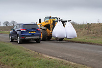 1-3-2021 Tele-Handler on the public road with two now ton bags of seed corn<br />  ©Tim Scrivener Photographer 07850 303986<br />      ....Covering Agriculture In The UK....