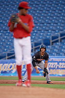 Jupiter Hammerheads shortstop Joe Dunand (3) leads off first base during a game against the Clearwater Threshers on April 12, 2018 at Spectrum Field in Clearwater, Florida.  Jupiter defeated Clearwater 8-4.  (Mike Janes/Four Seam Images)