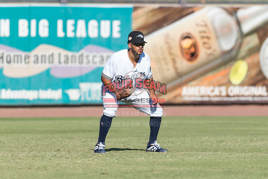 Peoria Javelinas left fielder Trent Grisham (2), of the Milwaukee Brewers organization, during an Arizona Fall League game against the Scottsdale Scorpions at Peoria Sports Complex on October 18, 2018 in Peoria, Arizona. Scottsdale defeated Peoria 8-0. (Zachary Lucy/Four Seam Images)