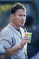 John Flaherty of the Tampa Bay Devil Rays during a 2002 MLB season game against the Los Angeles Angels at Angel Stadium, in Los Angeles, California. (Larry Goren/Four Seam Images)