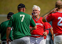 15 September 2019: Retired Major League Baseball and now Burlington Cardinal pitcher Bill Lee congratulates members of the Waterbury Warthogs at Burlington High School in Burlington, Vermont. The Warthogs edged out the Cardinals 2-1 in post season play. Mandatory Credit: Ed Wolfstein Photo *** RAW (NEF) Image File Available ***
