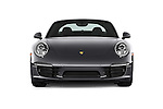 Car photography straight front view of a 2015 Porsche 911 Targa 4S 2 Door Coupe Front View