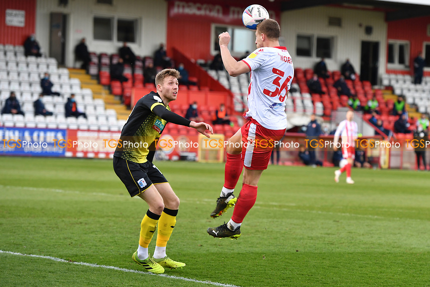 Luke Norris of Stevenage FC heads over during Stevenage vs Barrow, Sky Bet EFL League 2 Football at the Lamex Stadium on 27th March 2021
