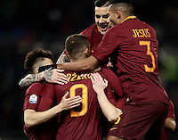Calcio, ottavi di finale di Tim Cup: Roma vs Sampdoria. Roma, stadio Olimpico, 19 gennaio 2017.<br /> Roma's Edin Dzeko, center, celebrates with teammates after scoring during the Italian Cup round of 16 football match between Roma and Sampdoria at Rome's Olympic stadium, 19 January 2017.<br /> UPDATE IMAGES PRESS/Isabella Bonotto