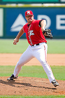 Relief pitcher Mitch Lively #45 of the Richmond Flying Squirrels in action against the Harrisburg Senators at The Diamond on July 22, 2011 in Richmond, Virginia.  The Squirrels defeated the Senators 5-1.   (Brian Westerholt / Four Seam Images)