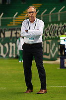 PALMIRA - COLOMBIA, 18-10-2018: Gerardo Pelusso, técnico de Deportivo Cali, gesticula durante partido con América de Cali por la fecha 15 de la Liga Águila II 2017 jugado en el estadio Palmaseca de la ciudad de Palmira. / Gerardo Pelusso, coach of Deportivo Cali, gestures during the match agaisnt America de Cali for the date 15 of the Aguila League II 2017 played at Palmaseca stadium in Palmira city.  Photo: VizzorImage/ Nelson Rios / Cont