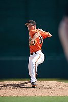 Baltimore Orioles pitcher James Teague (83) delivers a pitch during an Instructional League game against the Atlanta Braves on September 25, 2017 at Ed Smith Stadium in Sarasota, Florida.  (Mike Janes/Four Seam Images)