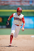 Clearwater Threshers second baseman Jose Gomez (3) runs the bases during a game against the Jupiter Hammerheads on April 11, 2018 at Spectrum Field in Clearwater, Florida.  Jupiter defeated Clearwater 6-4.  (Mike Janes/Four Seam Images)