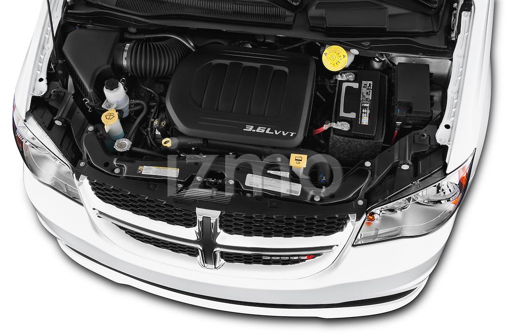 Car Stock 2018 Dodge Grand-Caravan SXT 5 Door Minivan Engine  high angle detail view