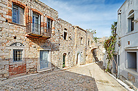 Traditional houses in the medieval mastic village of Vessa on the island of Chios, Greece