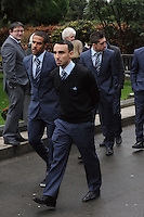 Pictured L-R: Swansea City first team players Wayne Routledge, Leon Britton and Pablo Hernandez arriving at Morriston Crematorium.<br />