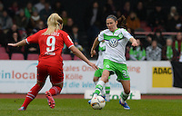 20151213 - KOELN , GERMANY : Wolfsburg 's Elise Bussaglia (right) pictured with Koeln's Nina Ehegotz (left) during the female soccer match between 1.FC Koln and 1. VFL Wolfsburg , on the 11th day of the German Bundesliga season 2015-2016 in sudstadion in Koln. Sunday 13 December 2015 . PHOTO DAVID CATRY