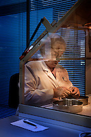 A woman separates seeds into a dish in a laboratory in The Wellcome Trust Millennium Building at the Millennium Seed Bank at Wakehurst Place in West Sussex. The building houses facilities for seed-preparation, laboratories and public exhibitions. There is a large storage vault which lies underneath the building. The Millennium Seed Bank Partnership is coordinated by Kew Gardens and aims to collect seeds from every wild plant in the world to insure against extinction. It reached its target of banking seeds from all of the UK's native plant species as well as banking 10% of the world's wild plant species in 2009, and aims to have 25% by 2020.