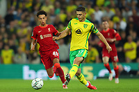 21st September 2021; Carrow Road, Norwich, England; EFL Cup Footballl Norwich City versus Liverpool; Milot Rashica of Norwich City is under pressure from Kaide Gordon of Liverpool