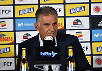 BOGOTÁ-COLOMBIA, 30-05-2019: Carlos Querioz, Director Técnico de La Selección Colombia de fútbol, durante rueda de prensa en la Sede Deportiva de la Federación Colombiana de Fútbol en Bogotá, 23 jugadores para la Copa América Brasil 2019. / Carlos Querioz, Technical Director of The Colombian Soccer Team, during a press conference at the Headquarters of the Colombian Football Federation in Bogota, 23 players for the Coa America Brazil 2019. / Photo: VizzorImage / Luis Ramírez / Staff.