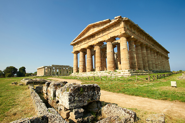The ancient Doric Greek Temple of Hera of Paestrum  built in about 460-450 BC. Paestrum archaeological site, Italy.